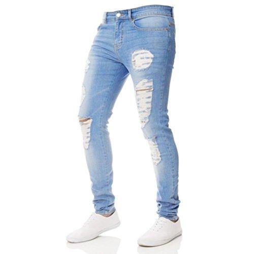 Pantalons en Denim Jeans Homme Fermeture éclair Slim Biker Pantalon Skinny effiloché déchiré Malloom