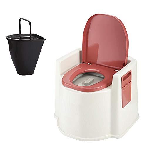 XIHAA Mobile Toilette Anti-Rutsch-Schwangere Frauen Toilette ältere tragbare geduldige Erwachsene Kommode, ältere Schwangere Frauen bewegliche Erwachsene Haushalts-tragbare Kommode,DarkRedB