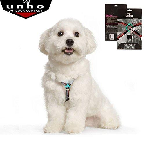 UNHO Hunde Geschirr mit Leine Brustgeschirr Softgeschirr für Haustiere Hunde Verstellbare Hundehalsband Nylon Leine Softgeschirr Outdoor Training Sparzieren Size:S/M/L/XL