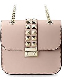 kleine originelle Damentasche Clutch – Tasche mit Nieten und Kettenriemen