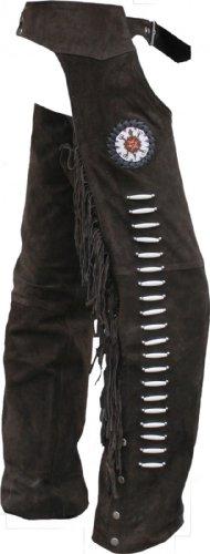 Chaps Franse Pantalón Jinete Cowboy indios Western piel-Polainas Pantalones de piel marrón marrón marrón oscuro 56