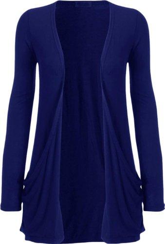 Nouveaux Femmes Grande Taille manches longues de base ordinaire Cardigan Top 36-54 Royal Blue