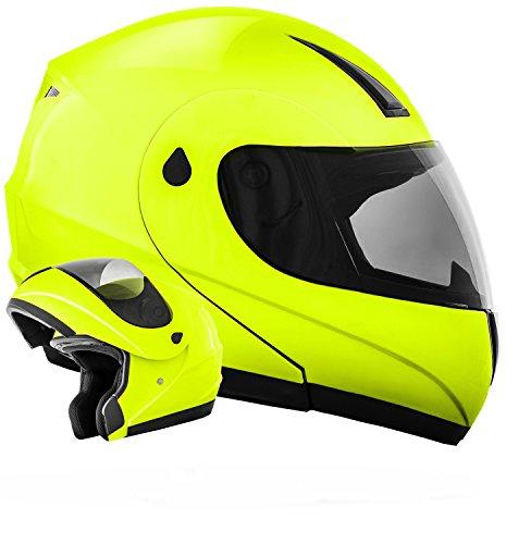 ATO-Moto K71 Neon Größe XL 61cm Flip Up Klapphelm mit neuster Sicherheitsnorm ECE 2205