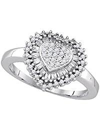Plata de Ley 925 redondo anillo de diamante corazón Conjunto de marcos para fotos (1