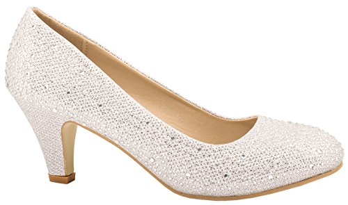 Elara Damen Pumps | Bequeme Strass High Heels | Hochzeits Glitzer Stiletto B-39-Silber-40