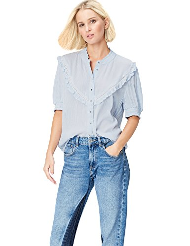FIND Damen Top Lace Yoke, Blau (Blue Striped), 34 (Herstellergröße: X-Small) (Sleeve Long Top Striped)