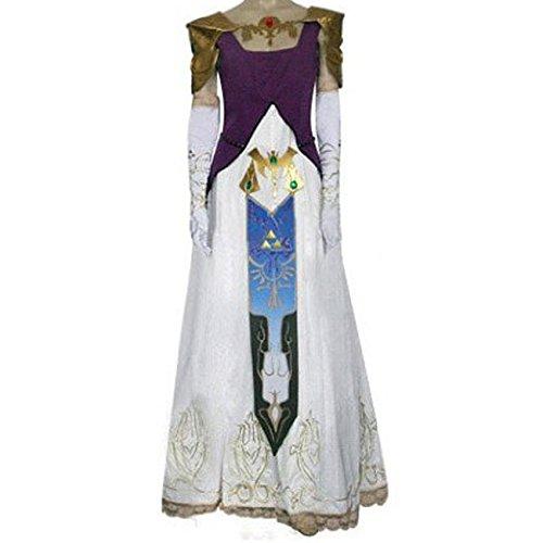 The Legend of Zelda Prinzessin Zelda Cosplay Kostüme Brauch(Mailen Sie uns Ihre Größe),Größe XL:170-175 (Cosplay Kostüm Prinzessin Zelda)