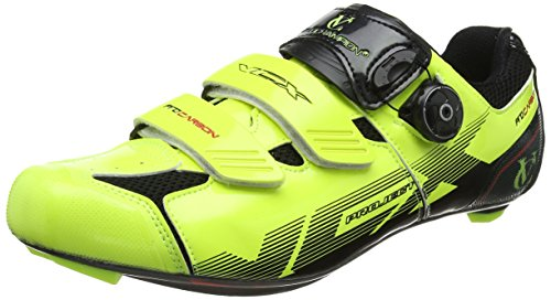 VeloChampion Cycling Shoes (pair) VCX with Carbon Fiber Plant Fluoro Yellow / Black 41