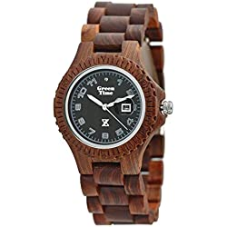 Zzero Green Watch Time zw006a Quartz Wood Wooden Quandrante Brown Strap