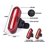 Leezo USB ricaricabile LED Bike Tail Light Night equitazione COB luce di avvertimento 6modalità luce opzioni facile da installare Per ciclismo sicurezza torcia, Red Light