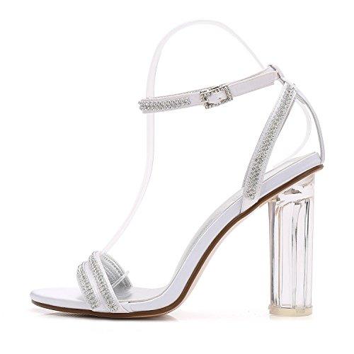 L@YC Scarpe Da Sposa Da Donna F2615-5 In Seta Con Punta aperta In Cristallo Con Tacco a Spillo E Diamanti Sintetici Purple