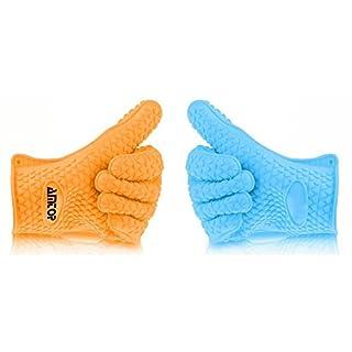 AMTOP Beste Hitzebeständige Silikon Backofen & Grill-Handschuhe, Grillhandschuhe Grillen, Küche Kochhandschuhe, Speziell für Kochen / Essen Prep / Haus Reinigung / Küche / Pot Halten, Spülmaschinenfest, Premium Grade FDA zugelassen - 1 Paar (Blau+Orange)