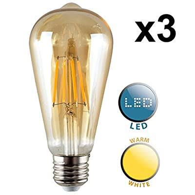 Vintage Style LED Technology 4w Unique Designer Style Amber Tinted Squirrel Cage Steampunk Light Bulb - Warm White[Energy Class A+]