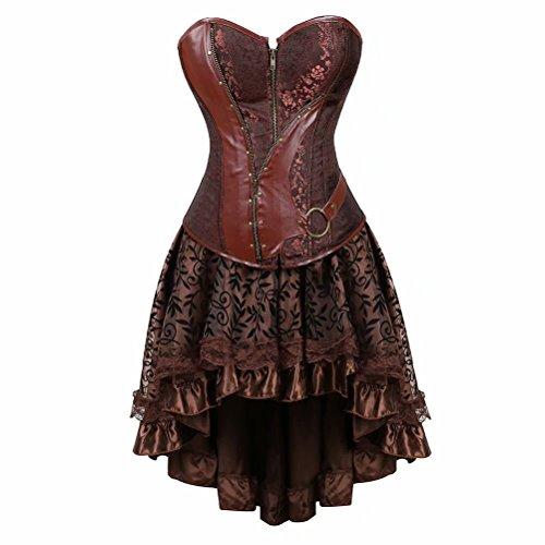 aizen Korsett Kleid Spitze Kostüm Burlesque Vollbrust Corsagen Leder Retro Gothic Damen Gothic Steampunk Halloween Rockabilly Braun S (Burlesque Halloween Kostüme Billig)