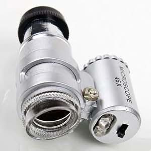 YKS Mini 45X 2-LED Pocket Microscope Magnifier Loupe with LED light adjustable Illuminator