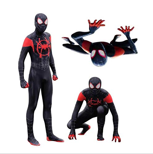 Kostüm Spiderman Neues - DFRTYE Erwachsene Kinder Neue Ära Schwarz Spider-Man Halloween Spandex Overall 3D Print Spiderman Superheld Cosplay Body,Adult-S