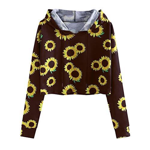 Hoodies Für Frauen, Evansamp Sunflower Print Lose Langarm Top Rundhals Pullover Mit Kapuze Bluse Pullover(Wein,XL) -