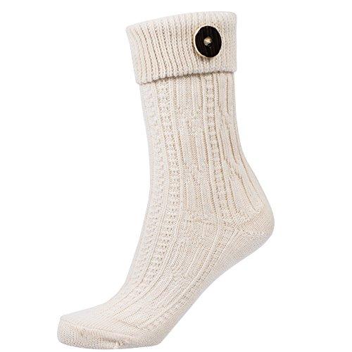 Gaudi-Leathers Gaudi-Leathers Socken Zopfmuster mit Umschlag und Knopf in natur/weiß Gr. 41