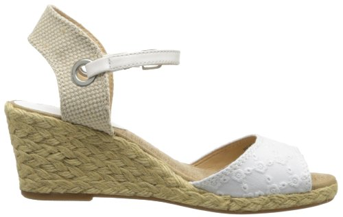 Lucky Brand Kyndra Toile Sandales Compensés White-Natural