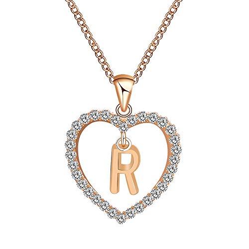 Sunday Damen Kette Rosegold 26 Buchstaben Namenskette Personalisierte Halskette mit Ihrem eigenen Wunschnamen Geburtstagsgeschenk