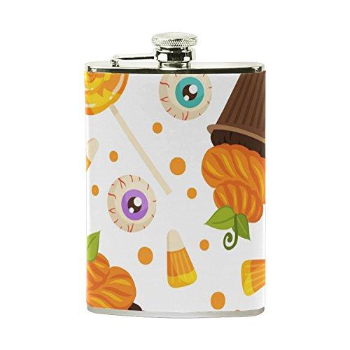 erte Flachmann Mini-Fläschchen 8oz für Frauen Herren Edelstahl Kürbis Augen Kuchen Halloween Thanksgiving Fall Herbst ()