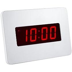 Silent LED numérique Wall Clock Night Lights réveil Batterie utilisée uniquement, les piles alcalines alcalines 4pcs Duracell peuvent continuer à fonctionner pendant plus de 12 mois. (Blanc)