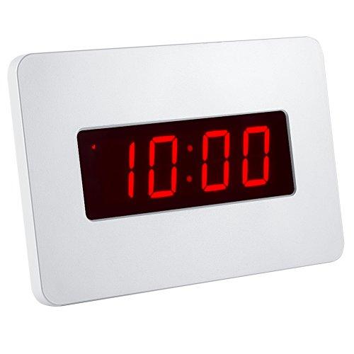 Kwanwa Digital LED Wecker Wanduhr für Schlafzimmer Nur mit Batterie betrieben (Weiße)