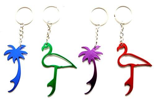 4 X Flaschenöffner Flamingo & Palme Schlüsselanhänger Öffner Party Pack by schenkfix (Mit Schlüsselanhänger Flaschenöffner Custom)