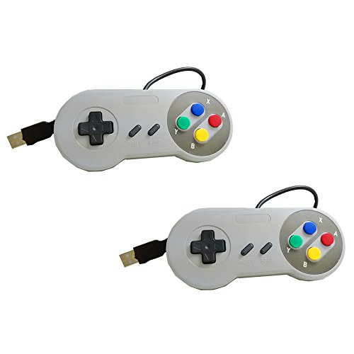 Yizhet 2x gamepad / controlador USB SNES para PC / portátil / tableta diseño retro para Super Famicom Windows PC USB