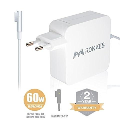 Macbook Air Netzteil Ladegerät Adapter - ROKKES 60W Magsafe L-Tipp für Apple Old MAC Netzteil MacBook Pro / Air 11 13.3