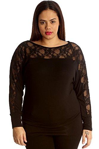 Neues Damen Übergrößen Miami Top Spitze Frauen Fledermausflügel Tunika Langarm Womens Plus Size Nouvelle Collection Black 50-52