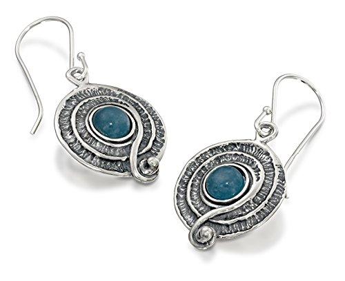 terling Silber baumeln Ohrringe mit blau Quarzit und dekorative Spirale oder Swirl Design (Kunst Stein Urlaub Kostüme)