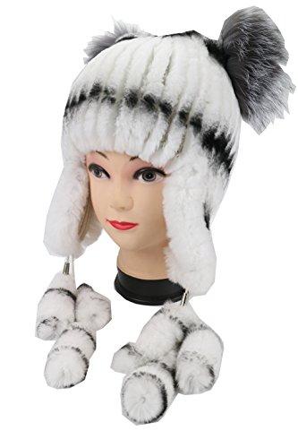 Ysting Womens Knit Rex pelliccia del coniglio del cappello Beanie con argento pelliccia di Fox Top Natural Fur Cappelli paraorecchie (D)