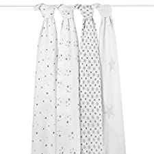 aden + anais 2038G Classic Swaddle Twinkle, 4er pack