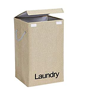 EOWQON® 72L Foldable Large Fabric Laundry Bag with Lid and Rope Handles (Beige)