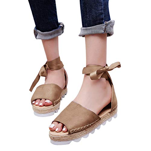 (Sandalen, Bluelucon Damen Offene Sandaletten Sommer Espadrille Mit Absatz Elegant Plateau Sommerschuhe Riemchen Schuhe)