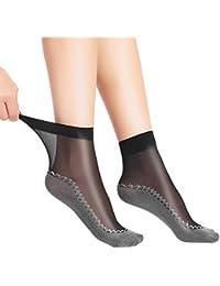 Anliceform calcetines de seda sexys para mujer, calcetines de tobillo de algodon con antideslizante.