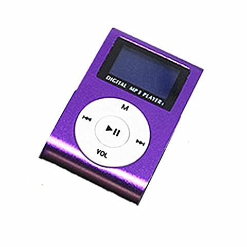 MOKE Nouveau Mini Clip Metal Mp3 Player Avec écran LCD + Micro / TF Slot Mémoire Mp3 extensible jusqu'à 16gb (sans carte mémoire et carte sd) (Violet)