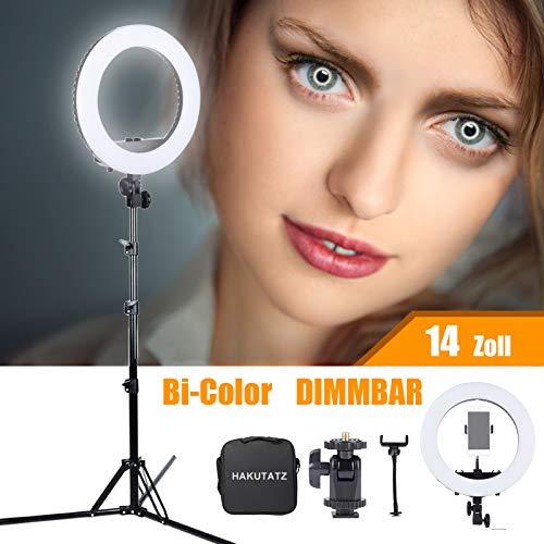 HAKUTATZ 14'' 35W Bi-Color LED Ringlicht Ringleuchte mit Stativ 3200-5600K Dimmbar für Handy Foto YouTube Beleuchtung