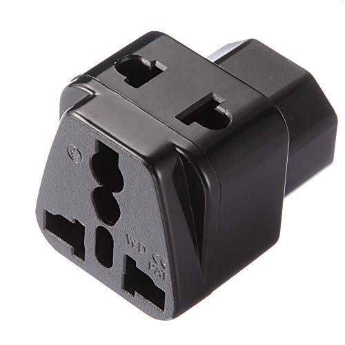 Shuangyu IEC320 C14 to US UK EU AU Universal Socket Adapter AC Power Plug Connector Black Ac Plug Connector
