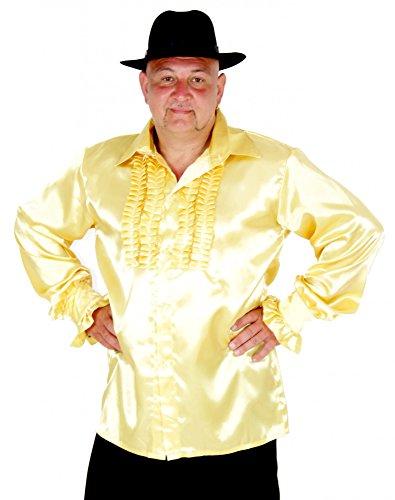 (Foxxeo 40195 | Rüschenhemd gold für Herren goldenes Hippie Hemd 70er 80er Kostüm Gr. S - XXL, Größe:L)