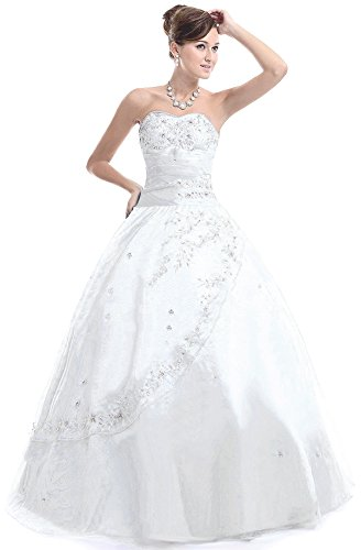 Faironly M28 Frauen trägerlosen Abendkleid Formal (M, Weiß)