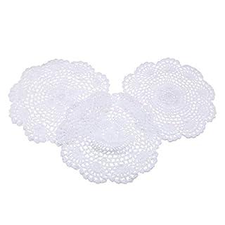 EAGLESTIME 3pcs Häkeln Floral Spitzendeckchen Baumwolle Bierdeckel Applique Weiß 20cm