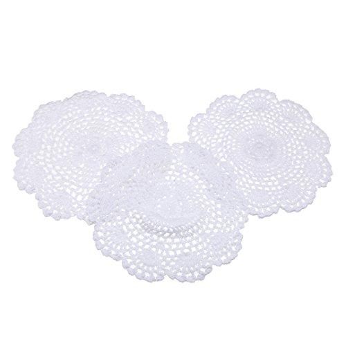 3pcs Napperons Dentelle Coton Tissu Crochet Tapis Rond Décor Table Cuisine - 20cm Blanc