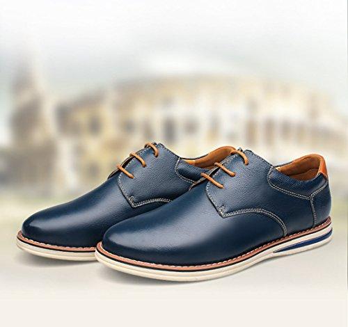 Printemps Homme Chaussure à Lacet en Cuir Souple Loisirs Mode Smelle Antidérapant Bleu