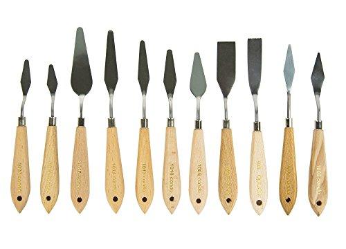 Malen Farbe Edelstahl (CONDA 11 Stück Malmesser Spachtel Messer Palette Messer Farbe Schaber Edelstahl)