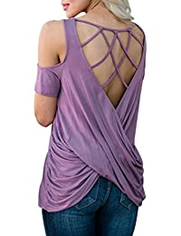 4b7ba67f5b Homebaby® T Shirt Donna Vintage - off Spalla Causal Maglietta Donna Manica  Corta Elegante -