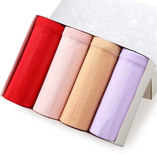 UNIQUE-F Damen Dessous Baumwolle Hohe Taille Damen Unterwäsche Sexy Mesh Postpartale Bauch Slips Boxed 4 Stück XL
