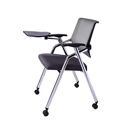 NNDQ Mesh Back Nesting Arm Chair Schreibtafel Folding Meeting Training Chair, mit Rollen, komfortabel und langlebig, geeignet für Office, Home