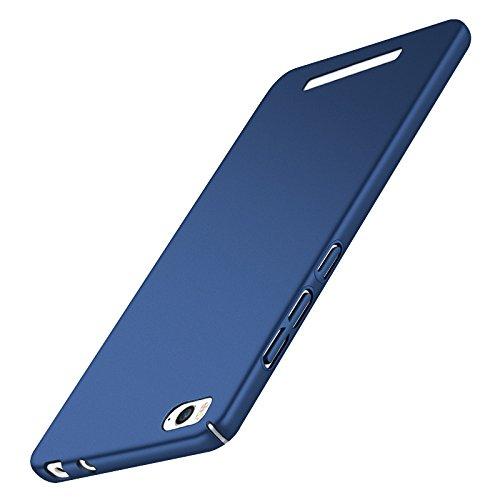 Tmusik Xiaomi Mi4c Mi 4C Hülle + Panzerglas Displayschutzfolie, [Ultra Dünn] [Leicht] Anti-Kratzer Schutzhülle, Anti-Fingerabdruck Hart Plastisch Rückdeckel Cover Case - Blau